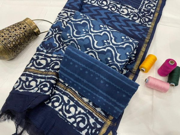 Traditional Navy blue Salwar suit with chanderi dupatta