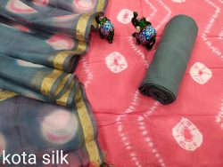 Carnation and gray cotton suit with kota dupatta set