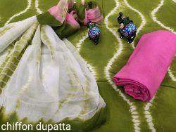 Olive cotton suits chiffon dupatta set