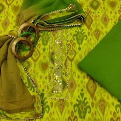 Green and lime gota hand work cotton embroidered salwar suit