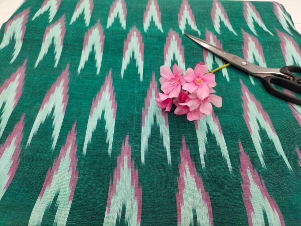 Teal Green ikkat running fabric for indian ethnic wear suit