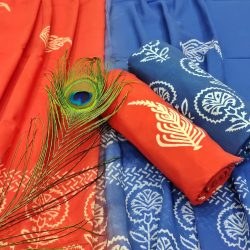 orange-red And blue unstitched suits wholesale