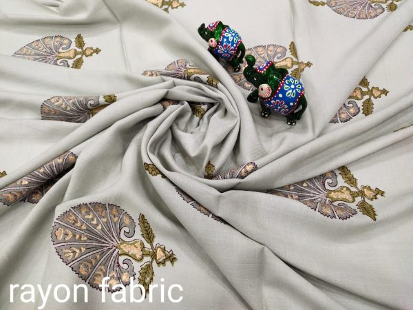 Traditional Silver Rayon running dress material set