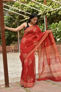 Red buy chanderi cotton sarees online