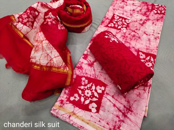 Crimson and white suit with chanderi dupatta online