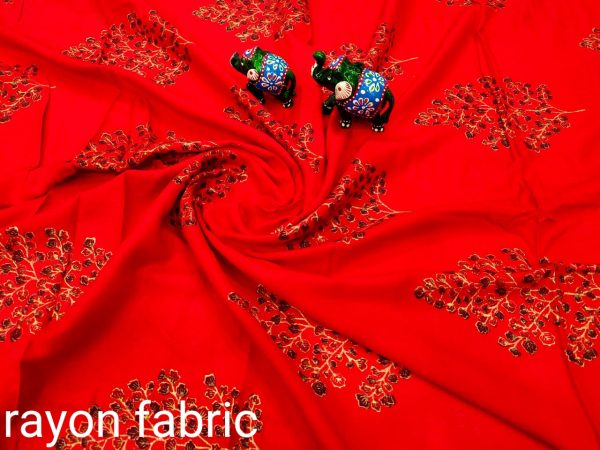 Red rayon running dress material set