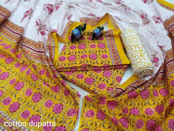 Gold and white floral print design for cotton salwar kameez