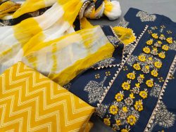 Amber and Prussian blue gota work on suits with chiffon dupatta