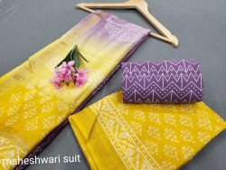 Lemon And Lavender maheshwari silk suit set with cotton pajama