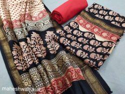 Black and carmine maheshwari silk suit ethnic ladies suits online
