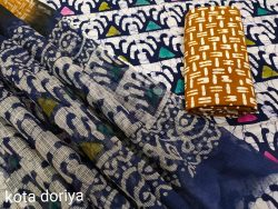 Navy blue office wear cotton salwar suits with kota dupatta online