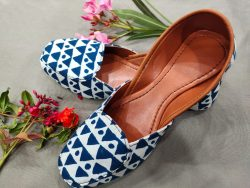 Blue cotton printed juti