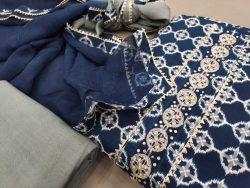Navy blue gota work suits online india with chiffon dupatta