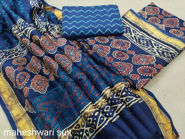 blue maheshwari silk suit ethnic ladies suits online