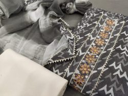 Dark Silver Cotton printed gota hand work suit set