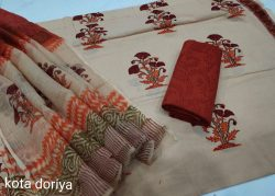 Tan cotton suit with kota doria dupatta