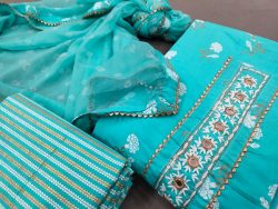 Turquoise blue gota work cotton suit with hand embroidery