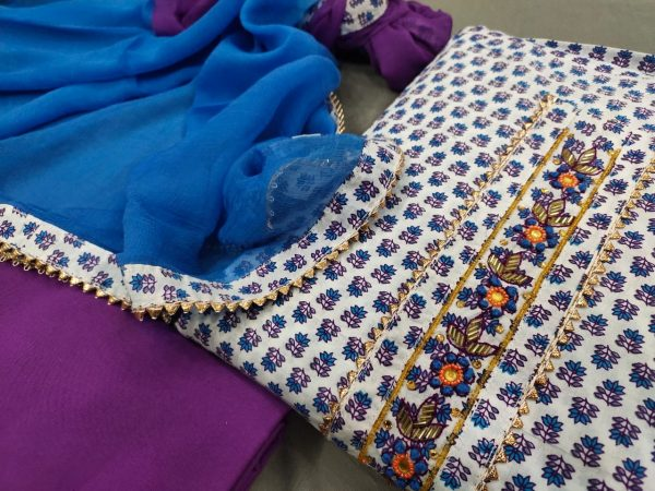 White and Purple gota Hand work cotton embroidery suits price