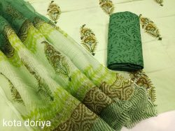 light lima and green  cotton suit with kota dupatta