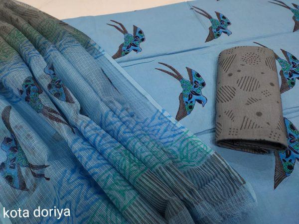 Blue cotton suit with kota dupatta