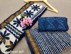 Blue maheshwari silk suit set