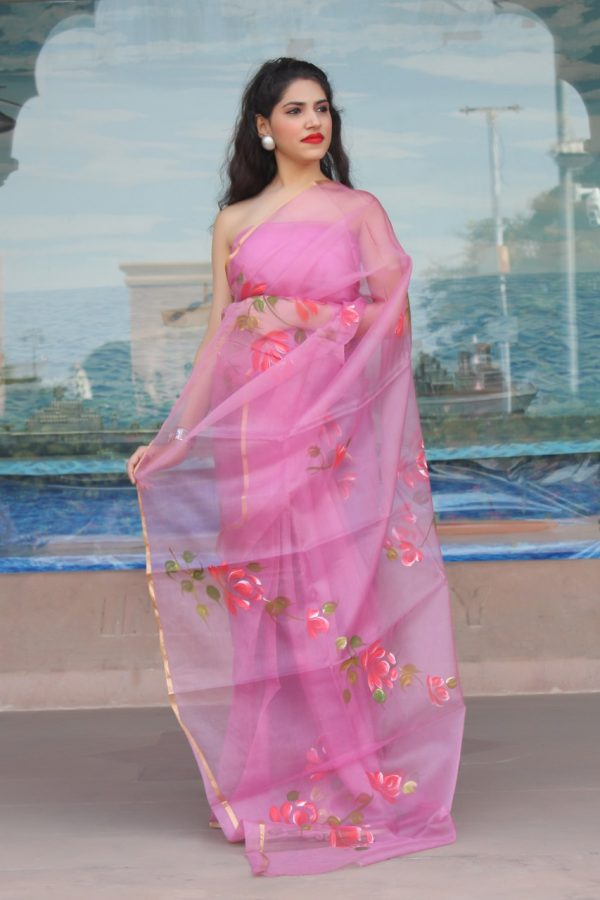Orchid organza Saree With Blouse