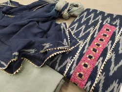 Prussian blue printed gota suit with chiffon dupatta