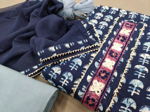 Prussian blue gota work cotton suit with hand embroidery