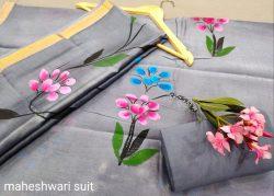 Silver maheshwari silk suit ethnic wear ladies suit