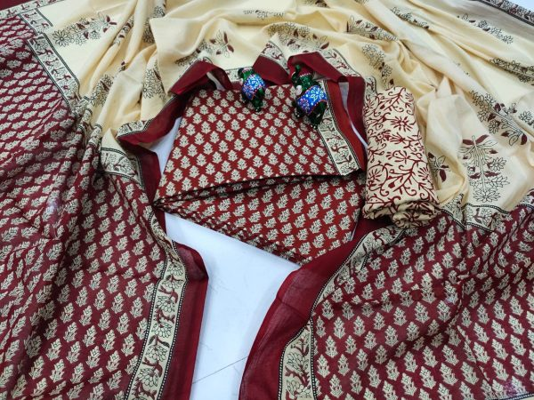 Burgundy And beige cotton salwar suit for sale