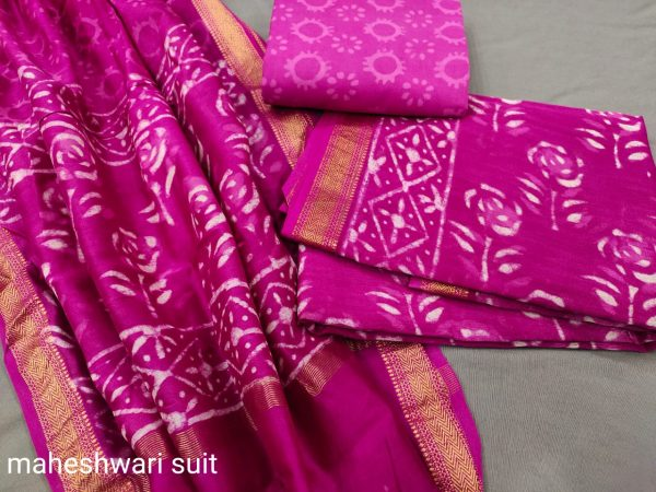 Ruby maheshwari silk suit set with pure maheshwari silk dupatta