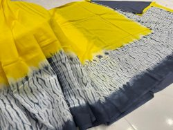 beautiful Yellow Cotton mulmul saree with blouse