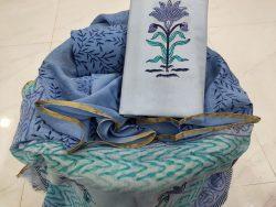 baby blue floral print Zari border suit set