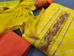 Lemon designer unstitched cotton suits printed gota hand work suit set