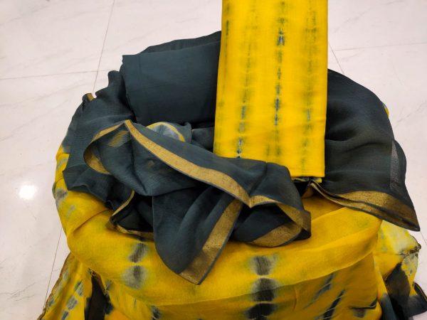 Lemon party wear cotton suit with zari border online