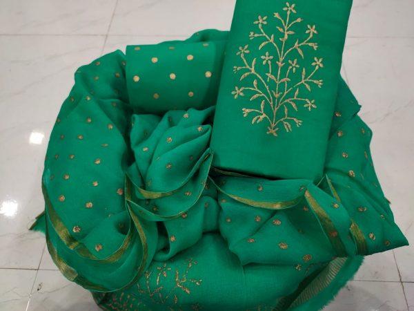 Jungle green zari border suits latest