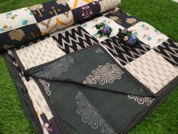Black and gray Hand stitched AC Quilt (Dohar) Patch work