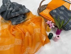 Amber and slate gray dresses for office wear cotton suit kota dupatta
