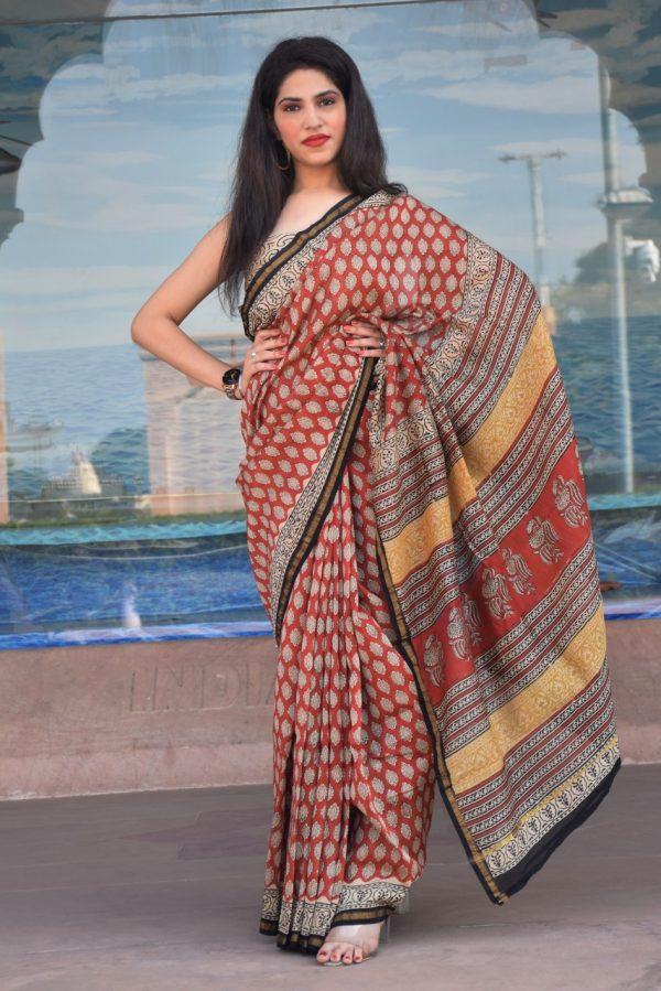 Sangria chanderi silk saree with price