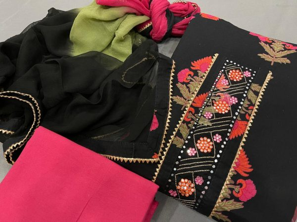 Black and magenta embroidery salwar suit designs