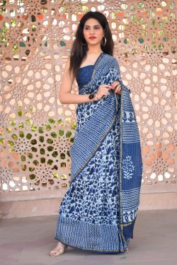 Blue chanderi silk saree latest