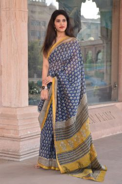 Blue chanderi silk saree buy online