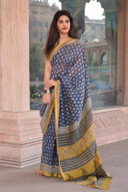 Blue chanderi silk saree buy online