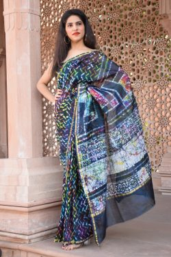 blue chanderi silk saree online shopping