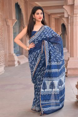 Ultramarine blue chanderi silk saree Online