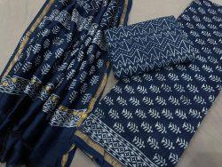 blue unstitched chanderi suit