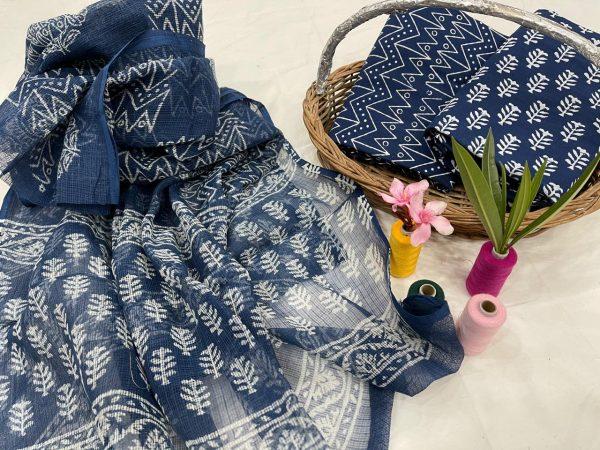 Blue cotton suit kota dupatta office wear ladies suits
