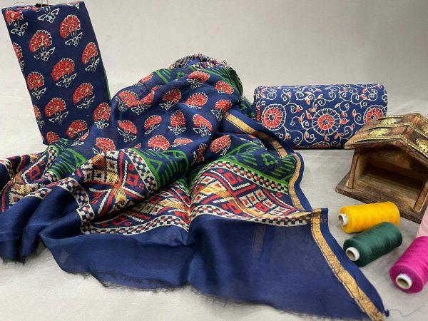 Blue chanderi suit set with dupatta