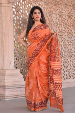 Orange block print chanderi silk saree