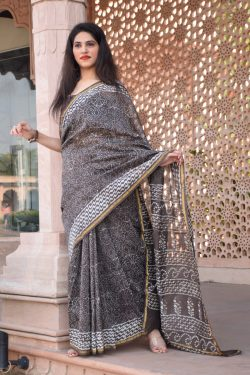 Dim gray chanderi silk saree online shopping